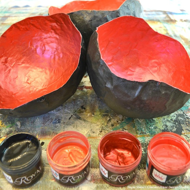 DIY Painted Paper Maché Bowls Project