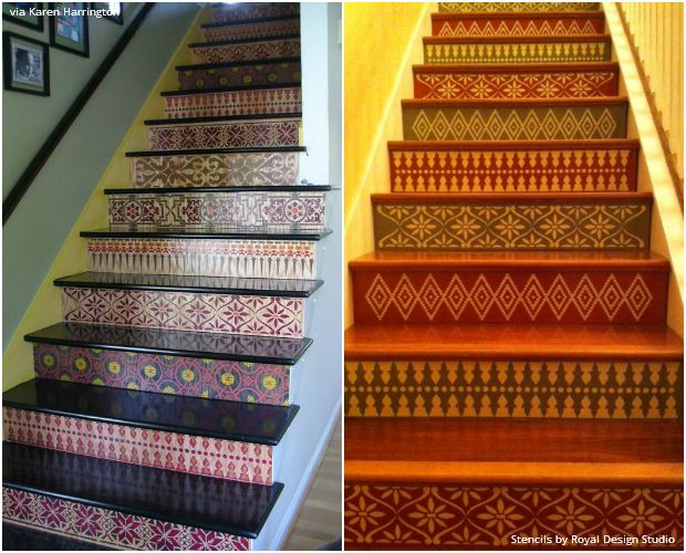 The Secret Is Out For Easy Stenciled Stairs   Royal Design Studio Stencils