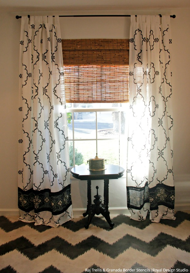 How to Stencil Tutorial - DIY Curtains with Burlap Border - Fabric Stencils from Royal Design Studio