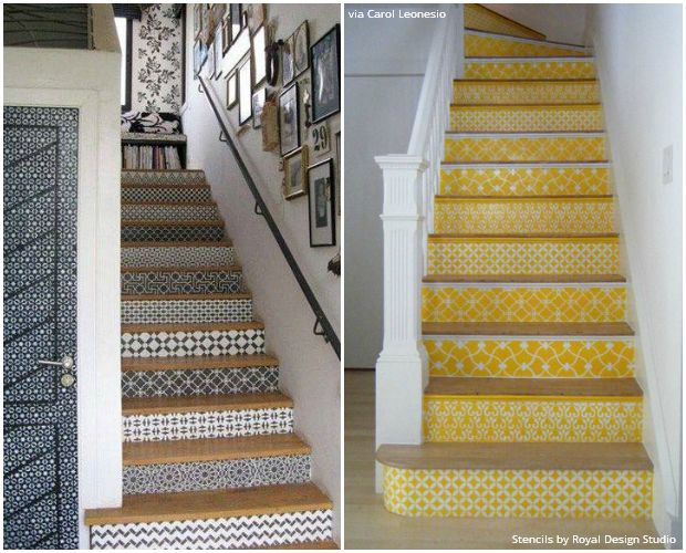 The Secret Is Out for Easy Stenciled Stairs - Royal Design Studio Stencils