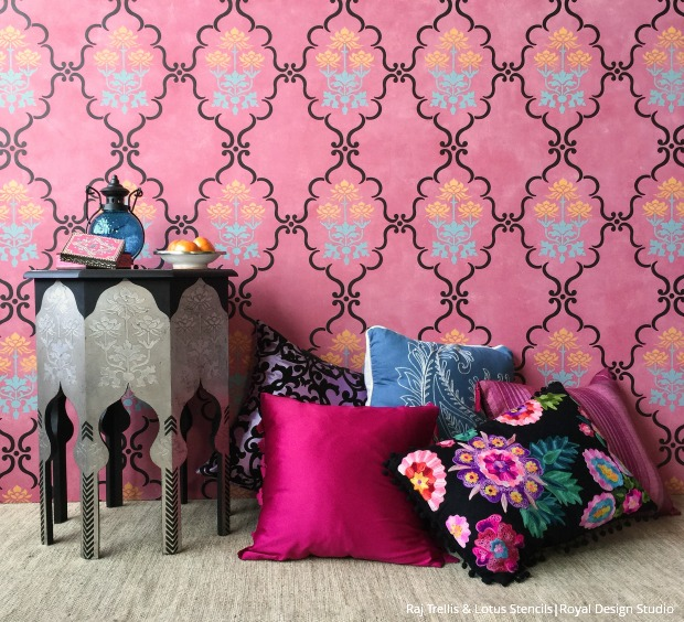 pink indian design wall stencils project