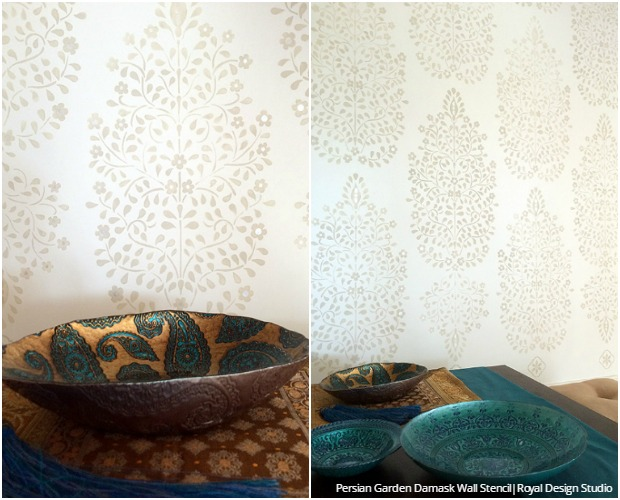 How to Stencil DIY Tutorial: Indian Design Floral Damask Wallpaper Wall Stencils