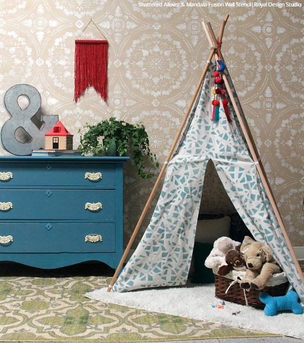 How to Stencil Tutorial: DIY Fabric Teepee Tent for Kids Crafts