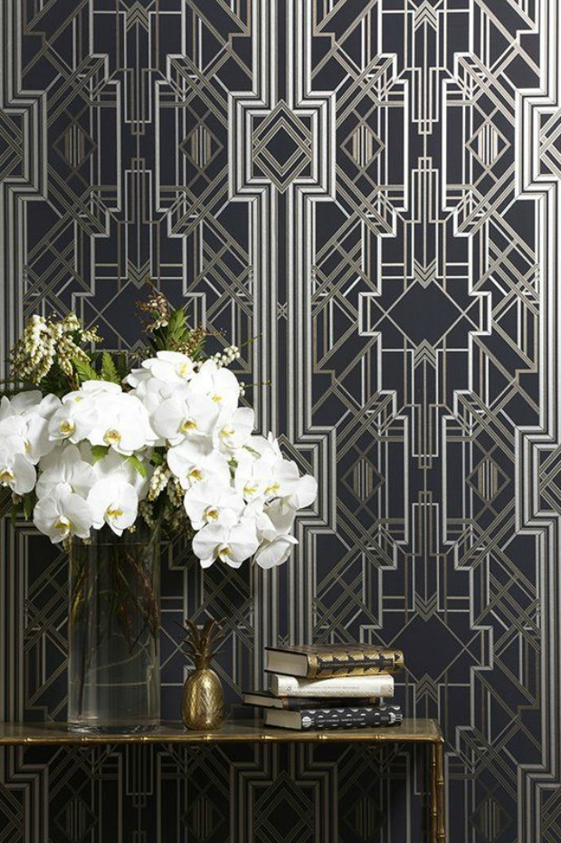interior design trend art deco wallpaper wall stencils paint pattern. Black Bedroom Furniture Sets. Home Design Ideas