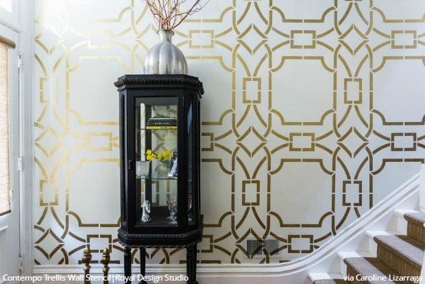 Interior Design Trend: Art Deco Style Decor - Decorating with Wallpaper & Wall Stencils