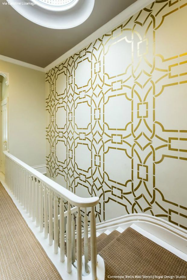 Interior design trend art deco wallpaper wall stencils for Paint templates for walls