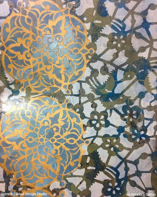 Layering Pattern with Stencil Art - Decorative Painting Wall Finishes - Royal Design Studio Stencils