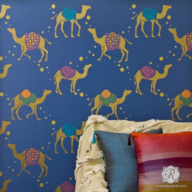 Colorful Metallic Home Decor Trend using Wallpaper Wall Stencils
