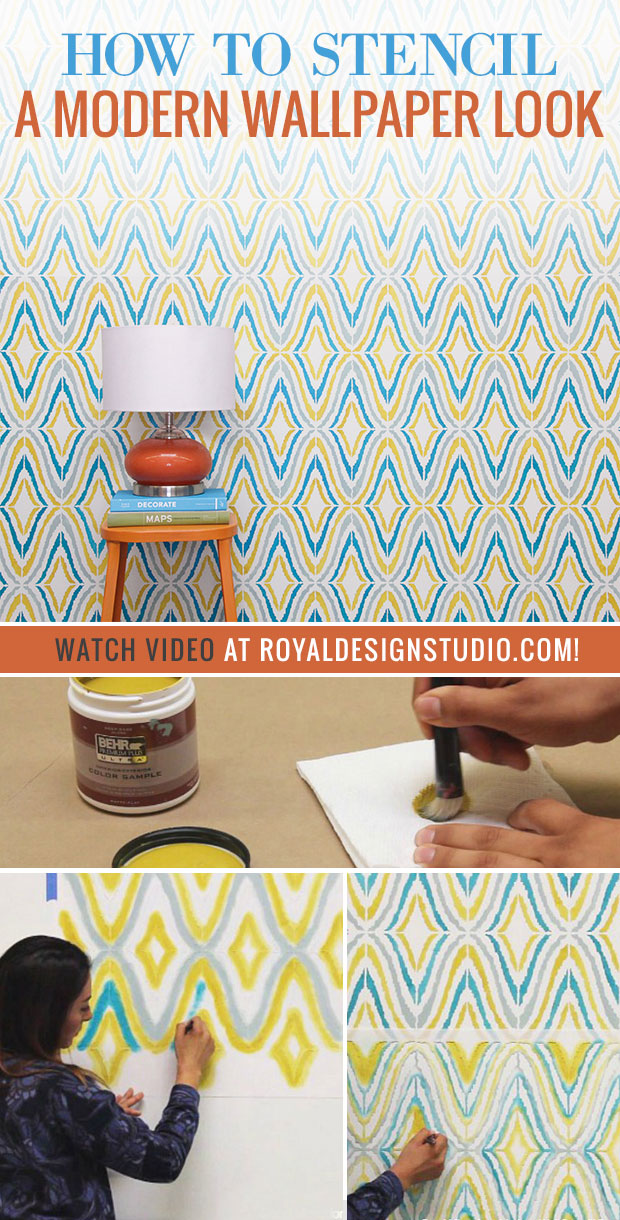 How to Paint a Modern Wallpaper Look with Wall Stencils - VIDEO DIY Tutorial