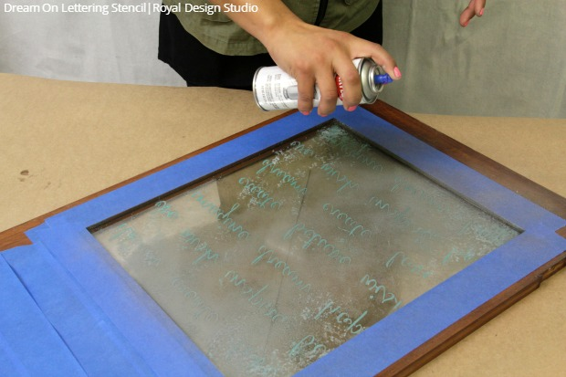 How to Stencil a Reclaimed Window Glass Frame with Annie Sloan Chalk Paint and Lettering Stencils from Royal Design Studio