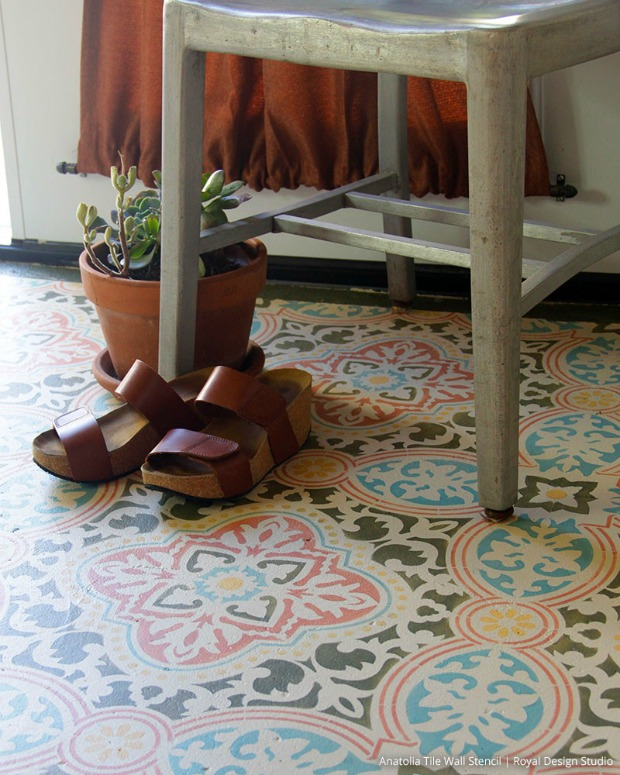 Mediterranean Style Interior Design and DIY Decorating Ideas - Paint + Pattern + TILE STENCILS!