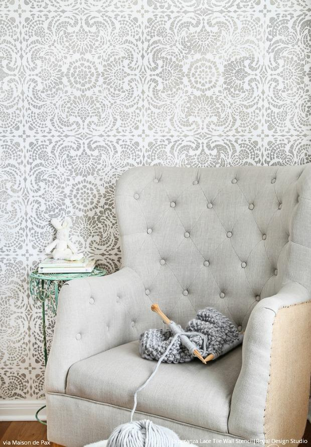 15 DIY Decorating Ideas to Wake up a Neutral Color Palette with Shimmery Stenciling - Royal Design Studio Wall Stencils