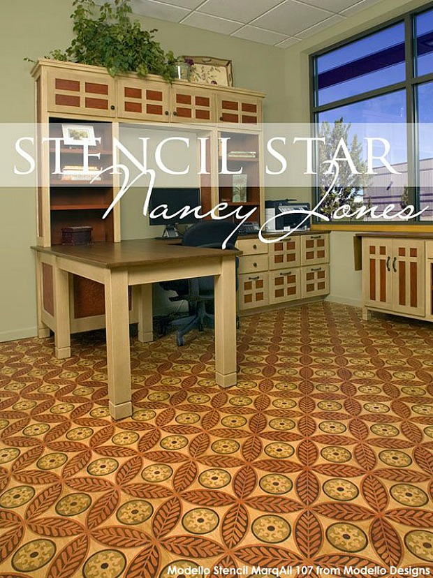 Sustainable Green Living & Eco Friendly Decorating Ideas using Upcycled Furniture Stencils and Reclaimed Floor Stencils from Royal Design Studio