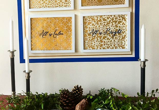 A Gold Christmas: Gold Leaf Wall Art with Stencils & Decals