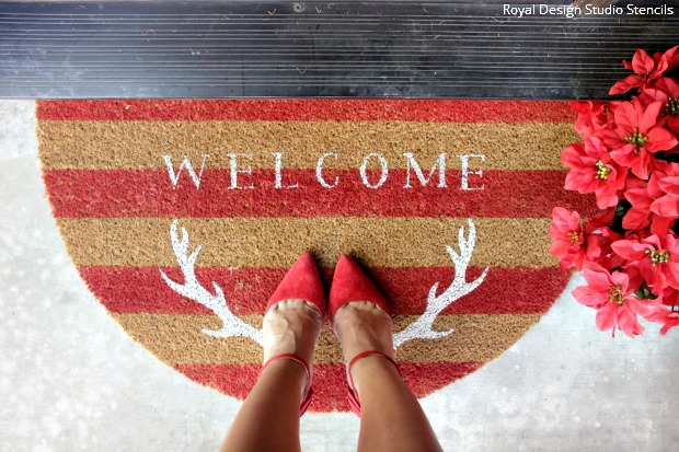 DIY Decor Tutorial - Step into the Christmas Season with a Stenciled DIY Door Mat - Holiday Craft Stencils by Royal Design Studio