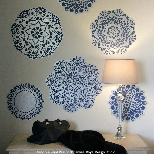 DIY Snowflake Wall Decals Using Lace Craft Stencils And Paint Peel U0026