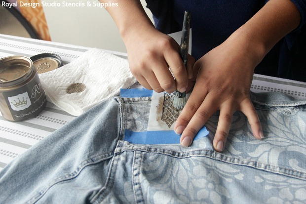 Easy Stencil DIY to Update Your Denim Jacket | Paint + Pattern