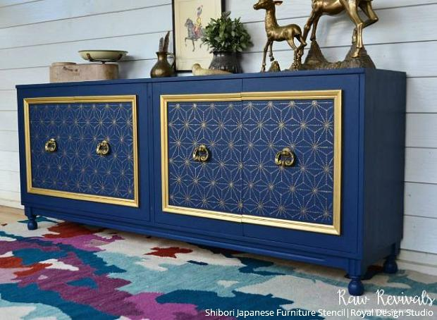 Raw Revivals Nailed The Art Deco Look On This Modern Midcentury Cabinet Navy Blue And Metallic Gold Make Our Shibori Furniture Stencil Pop