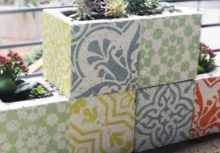 How to Stencil DIY Cement Cinder Block Planters