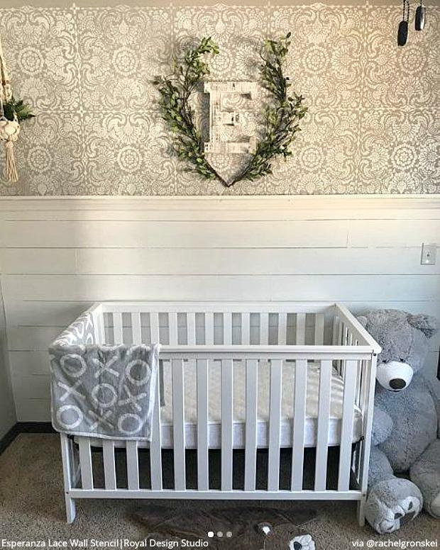 Wall Stencils Style It With Shiplap Paneling And Trim