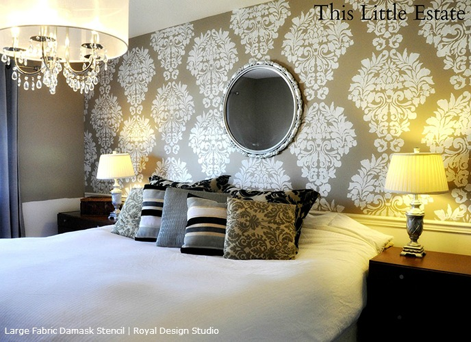 Large Fabric Damask Stencil On Feature Wall In Bedroom