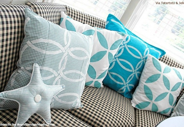 Stylishly Stenciled Fabric Pillows!