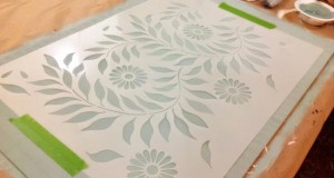 A Stenciled Floorcloth with Flower Power!