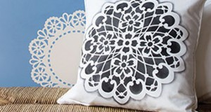 Fabric Stencil How-to: Lace Pillows