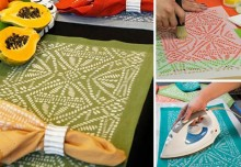How to Stencil: Tribal Batik Place Mats with Discharge Paste