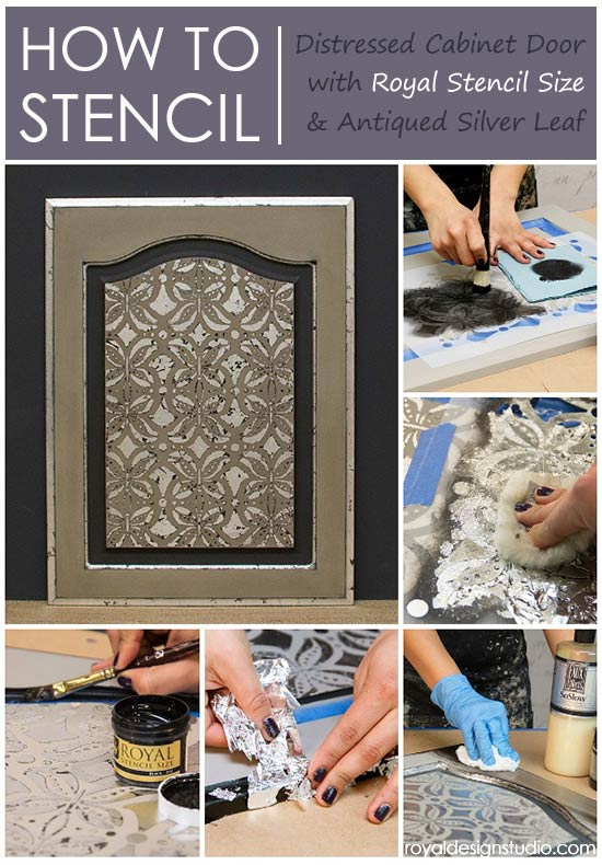 How To Use Royal Stencil Size From Design Studio With Silver Leaf And A Stenciling