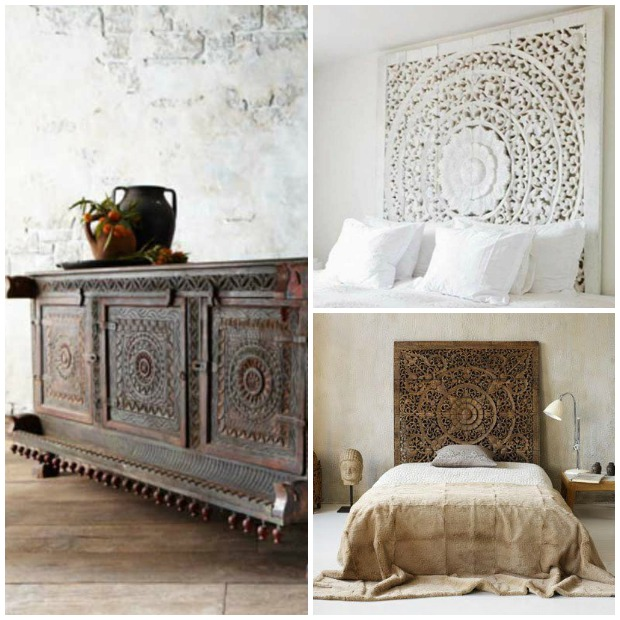 The Gorgeous Woodworking Patterns Of India Carved Wood Panel Headboard And Door Shutters