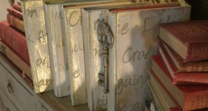 Bling Up Your Bookshelves with Stenciled and Gilded Books DIY