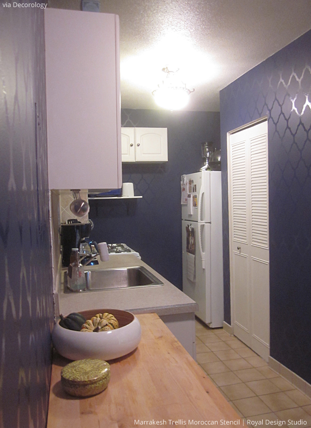 Stenciled Kitchen Wall With Marrakesh Trellis Moroccan Stencil Via Decorology Paint Pattern