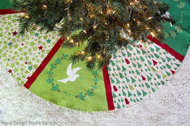 How to Stencil a Handmade Tree Skirt and Christmas Stockings