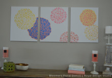 DIY Triptych Wall Art with Bloomers Floral Stencils