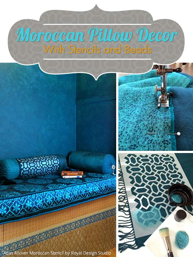 moroccan pillow decor with stencils and beads - paint + pattern Diy Pillow Decor