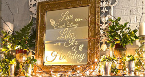 Stencil A Holiday Quote On A Mirror