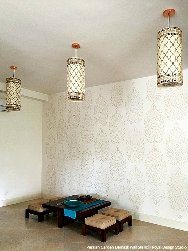 ceiling stencils painting ideas - DIY Tutorial How to Stencil Indian Style Wallpaper Wall